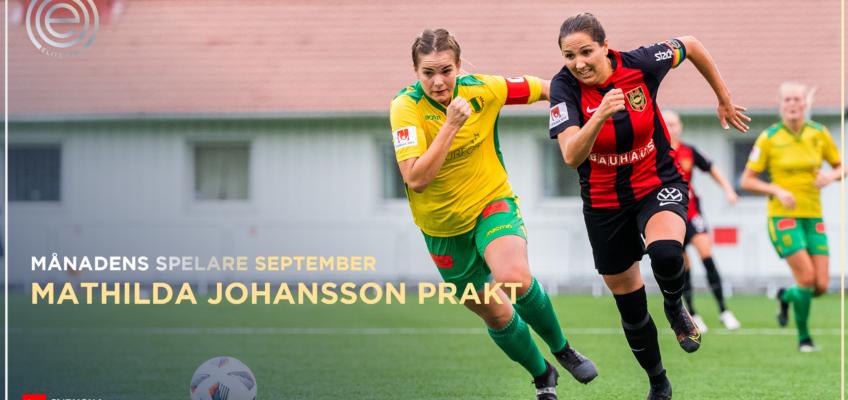 Mathilda Johansson Prakt månadens spelare i Elitettan